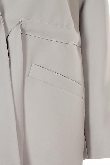 Купить серый жакет с кулисой. Деловая женская одежда фото