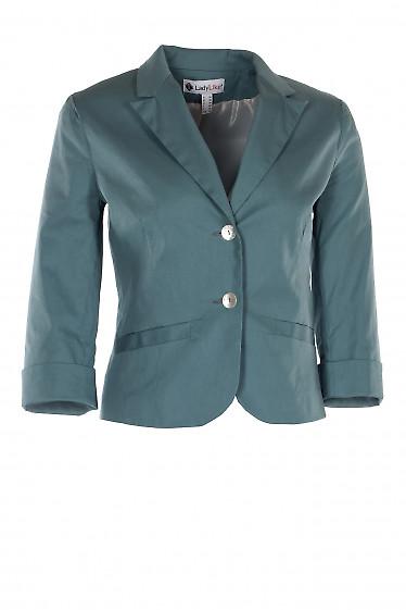 Жакет темно-бирюзовый короткий с манжетой. Деловая женская одежда