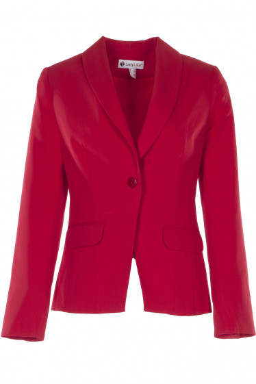 Жакет женский красный с манжетой. Деловая женская одежда фото